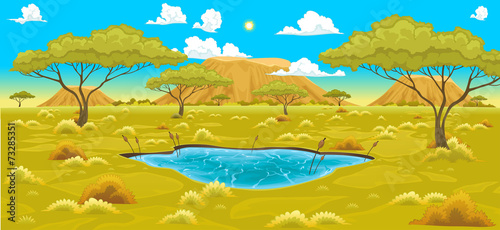 Poster Chambre d enfant African landscape