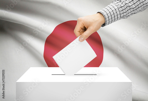 Valokuva Ballot box with national flag on background - Japan
