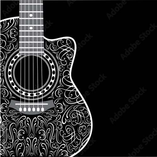 Foto  background with clipped guitar and stylish ornament