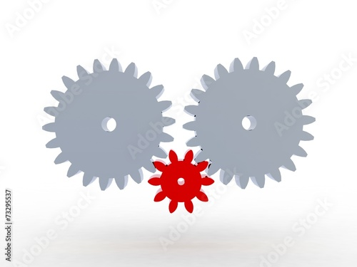 3D Gears the mechanism Isolated on white background Canvas Print