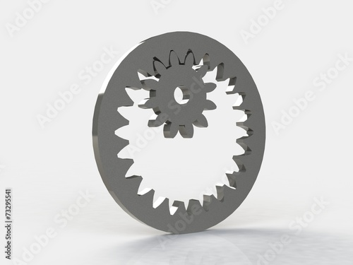 3D Gears the mechanism Isolated on white background Wallpaper Mural
