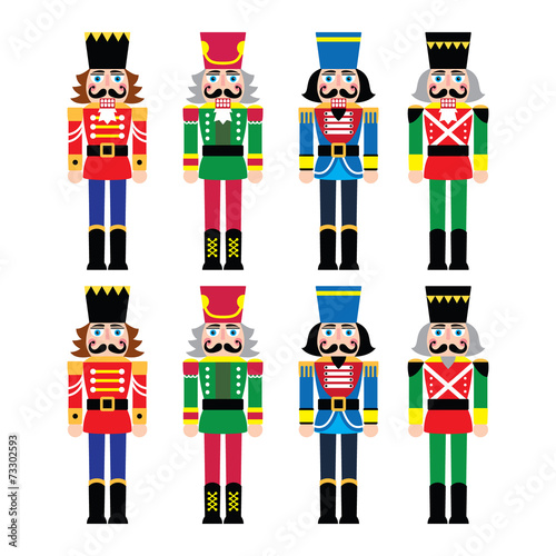 Fotografía Christmas nutcracker - soldier figurine icons set