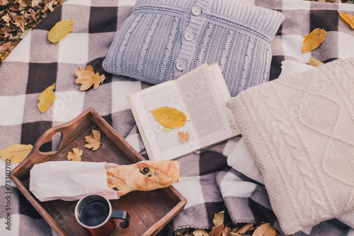 Aluminium Prints Autumn still life with tea, french loaf, knitted pillows and book