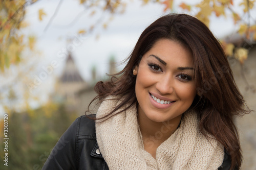 Fotografie, Obraz  Gorgeous Latino woman outdoors during fall