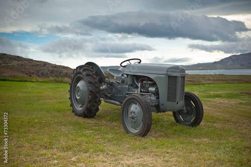 Retro Tractor on the Iceland field Canvas Print