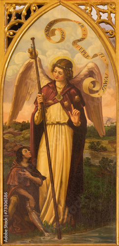Seville -  The paint of archangel Raphael in San Pedro church Poster Mural XXL