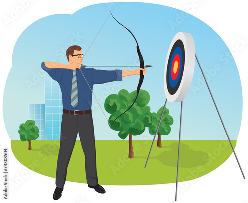 Businessman with bow and arrow is aiming at target Canvas Print