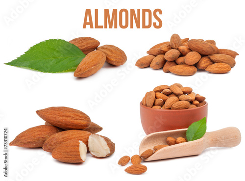 Ensemble de quatre compositions amandes isolées Poster