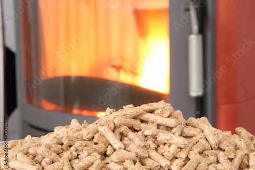 In de dag Vuur roter Kaminofen mit Pellets