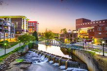 Greenville, South Carolina, USA Downtown Cityscape
