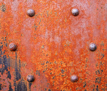 Rusty Girder With Bolts From Old Railroad Bridge.