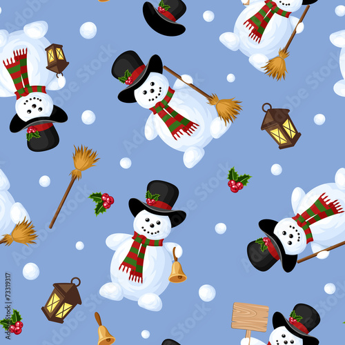 Cotton fabric Christmas seamless background with snowmen. Vector illustration.