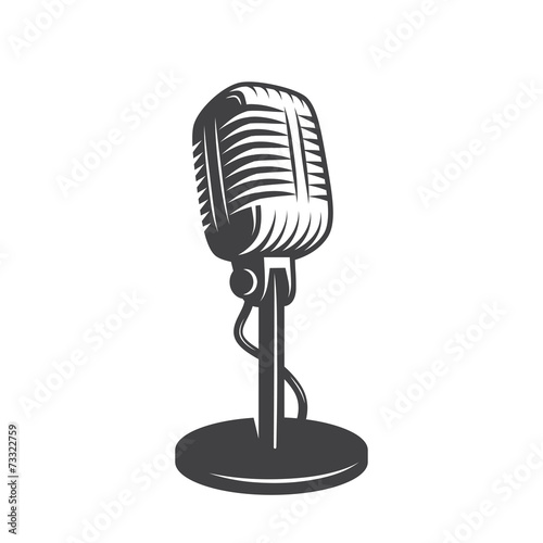 Slika na platnu Vector illustration of isolated retro, vintage microphone.