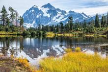 Snowy Mountain Peak Reflected ...