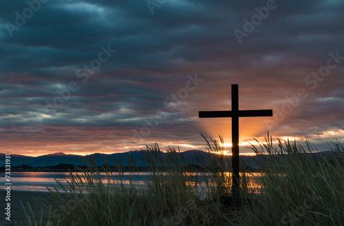 Dawn Sun Rays Cross