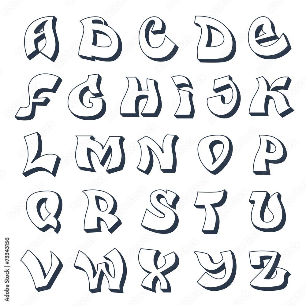 Graffiti Alphabet White Foto Poster Wandbilder Bei Europosters