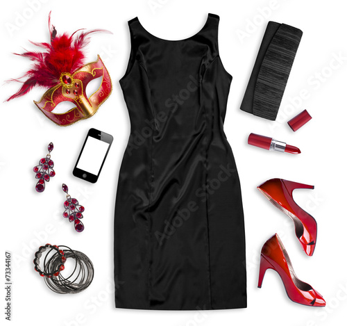 Fashion women accessories of carnival costume isolated on white Wall mural