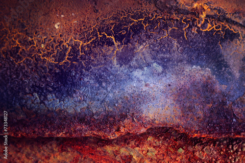 Photo sur Aluminium Les Textures orange blue abstract rust texture
