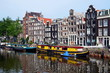 Boat houses in Amsterdam, Holland
