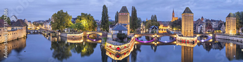 Evening panorama of Pont Couverts in Strasbourg, France Wallpaper Mural