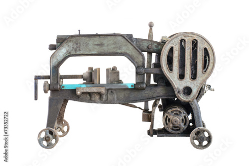 Fotografie, Obraz  old dirty hacksaw machine industry tool. Isolated.