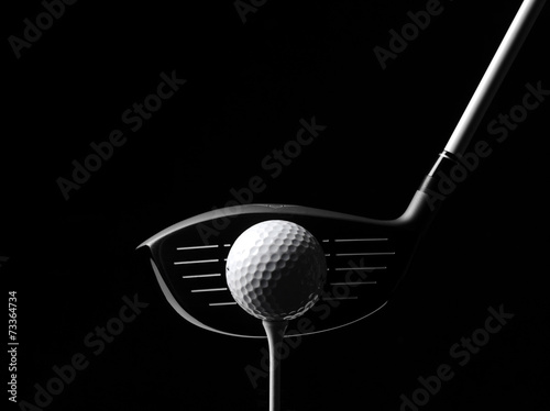 Aluminium Prints Golf Golf Wood with a Golf Ball and Golf Tee