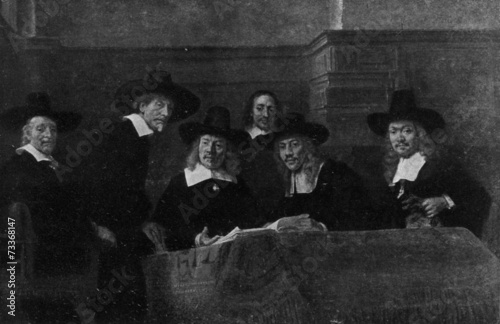 Photo Syndics of the Drapers' Guild (Rembrandt, 1662)