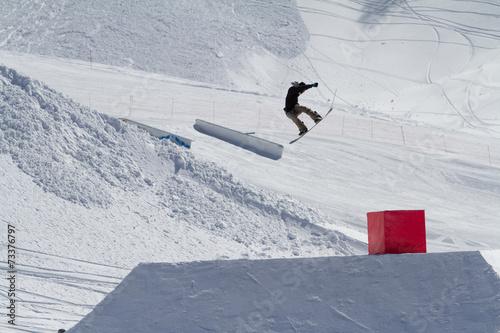 Fotografie, Obraz  Snowboarder jumps in Snow Park,  ski resort