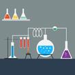 Flat design style of laboratory