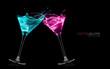 canvas print picture - Exotic Liquors. Stemmed cocktail glasses making a toast splashin