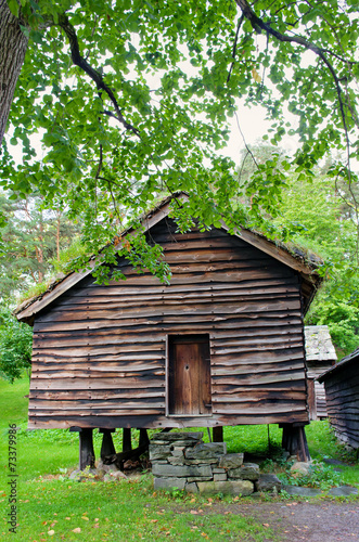 Traditional Norwegian House with grass roof. The Norwegian Museu
