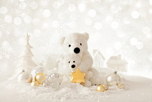 Christmas Background With Tedd...