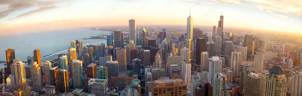 Fototapeta Aerial Chicago panorama at sunset, IL, USA