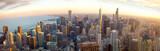 Aerial Chicago panorama o zachodzie słońca, IL, USA