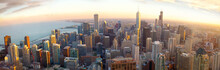 Aerial Chicago Panorama At Sun...