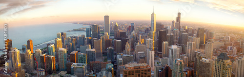 Obraz Aerial Chicago panorama at sunset, IL, USA - fototapety do salonu