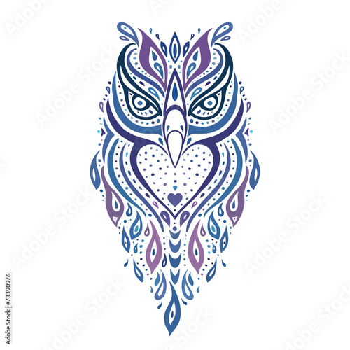 Poster Uilen cartoon Decorative Owl. Ethnic pattern.