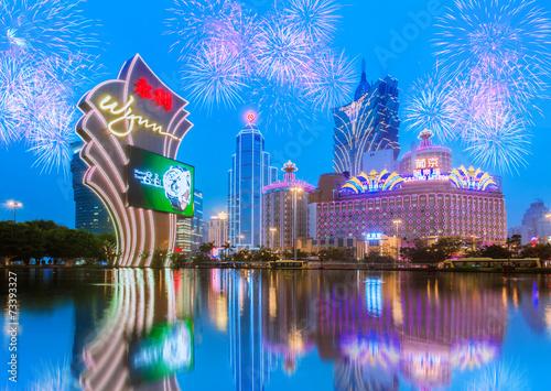 Photo  Buildings of Macau Casino with firework