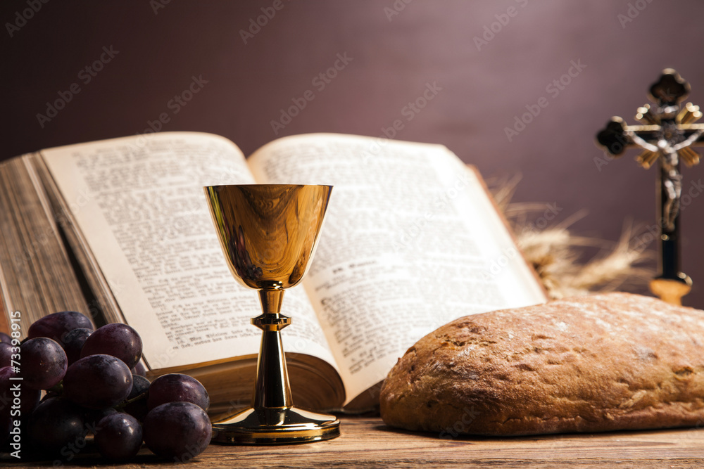 Fototapety, obrazy: Sacred objects, bible, bread and wine.