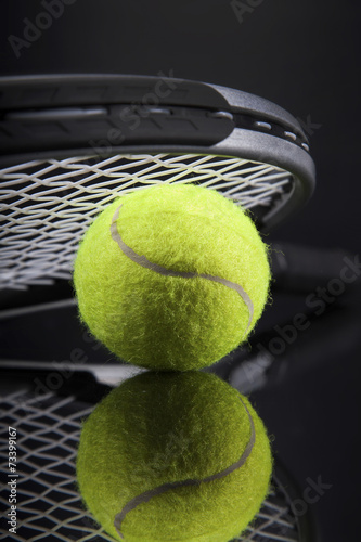 A set of tennis. Racket and ball. Poster
