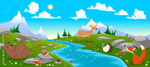 Poster Chambre d enfant Mountain landscape with river and animals