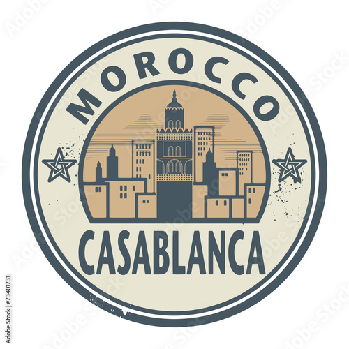 Fotografie, Obraz  Stamp or label with text Casablanca, Morocco inside