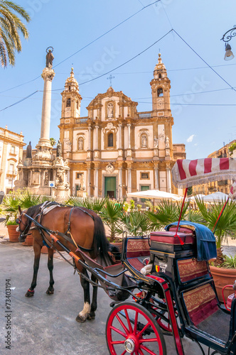 Tuinposter Palermo San Domenico square and church in Palermo, Italy