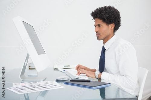 Garden Poster Focused businessman typing on keyboard