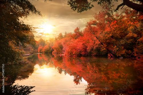 Aluminium Prints Autumn Autumn sunset over river