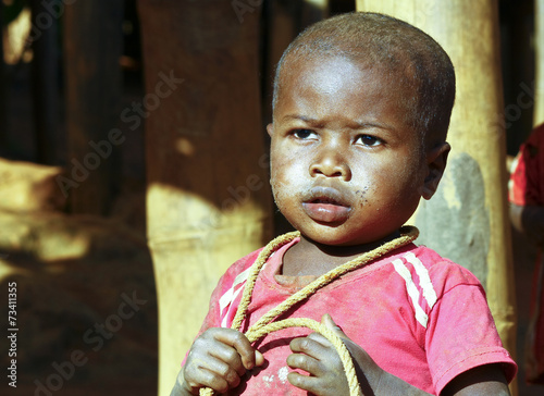 Vászonkép  Poor african boy with a string -  trying to attempt a suicide