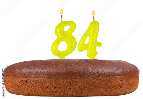 Fotografia  birthday cake candles number 84 isolated