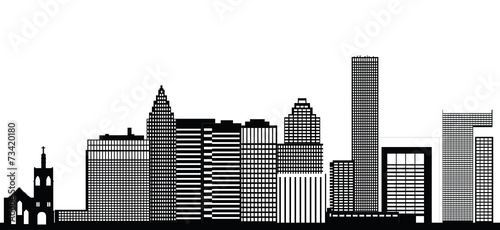 Deurstickers Rotterdam houston city skyline