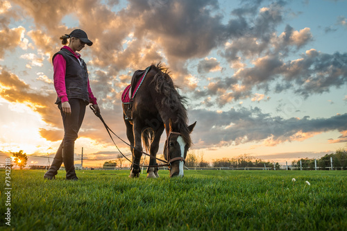 Poster Equitation Girl and horse