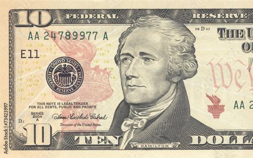Macro shot of 10 dollar bill Canvas Print